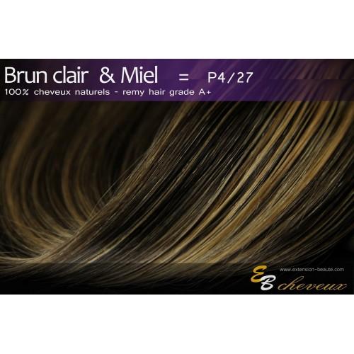 Tissage cheveux naturels lisse Brun clair & Miel P4/27