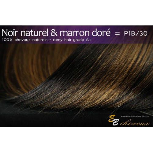 Extension à clips cheveux naturels Noir naturel & Marron doré P1B/30