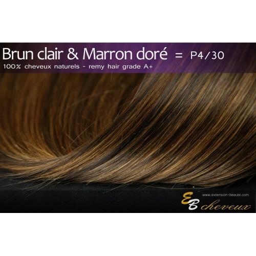 Extension à clips cheveux naturels Brun clair & Marron doré P4/30