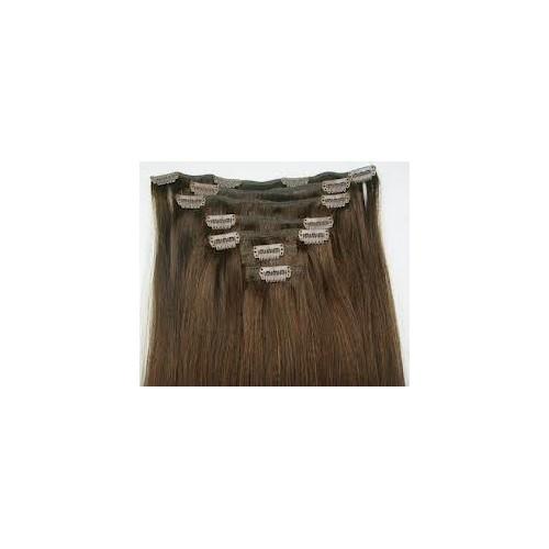 Extension à clips cheveux naturels Brun clair N°4