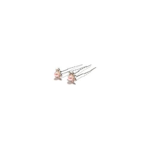 Pic à cheveux perle cristal rose clair