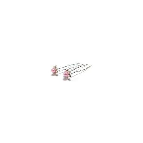 Pic à cheveux perle cristal rose