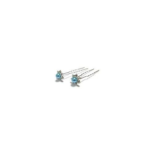 Pic à cheveux perle cristal bleu clair