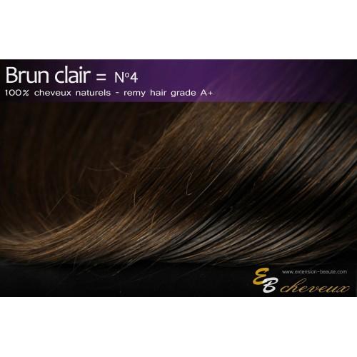 Tissage cheveux naturels lisse Brun clair N°4