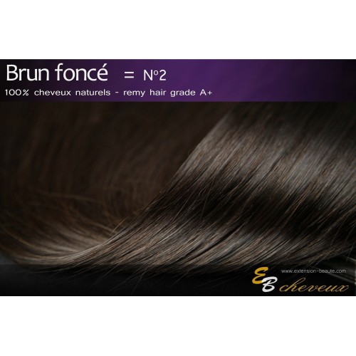 Tissage cheveux naturels lisse Brun foncé N°2