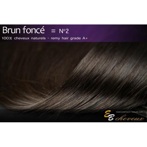 Extension à clips cheveux naturels Brun foncé N°2