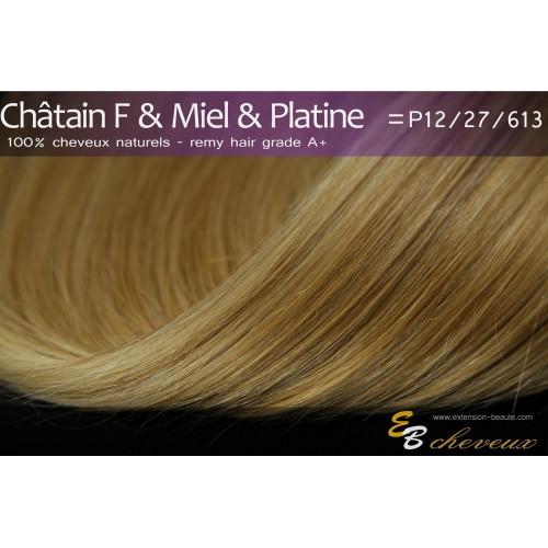 Extension à clips cheveux naturels Châtain & Miel & Platine P12/27/613