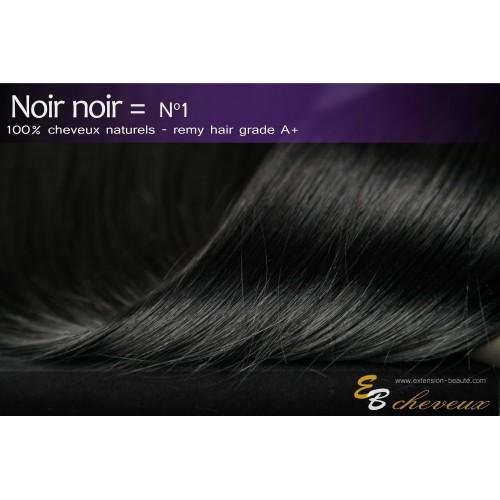 Extension à clips cheveux naturels Noir noir N°1
